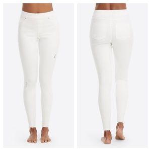 Spanx White Distressed Skinny Jeans